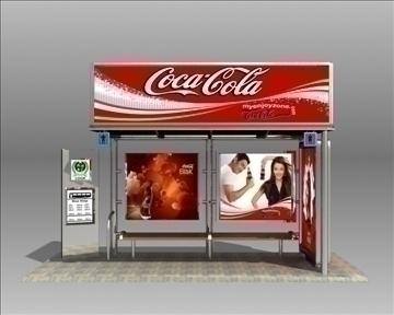 bus stop shelter coke brand 3d model 3ds max obj 110417