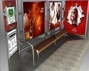 bus stop shelter coke brand 3d model 3ds max obj 110419