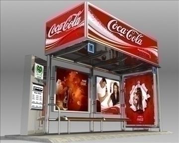 bus stop shelter coke brand 3d model 3ds max obj 110420