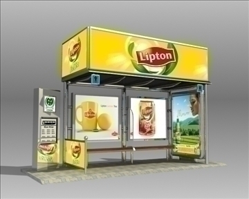 bus stop shelter lipton brand 3d model 3ds max obj 99743