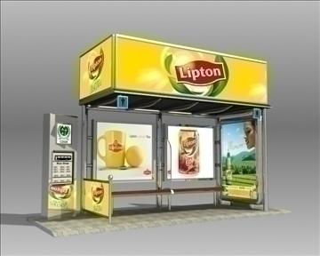 autobusu pieturas patversme Lipton zīmols 3d modelis 3ds max obj 99744