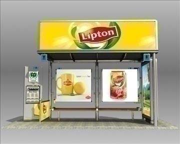 autobusu pieturas patversme Lipton zīmols 3d modelis 3ds max obj 99746