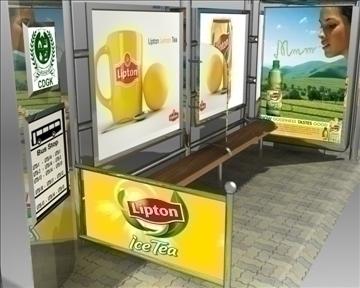 autobusu pieturas patversme Lipton zīmols 3d modelis 3ds max obj 99748