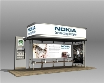 bus stop shelter nokia brand 3d model 3ds max obj 99763