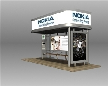 bus stop shelter nokia brand 3d model 3ds max obj 99765