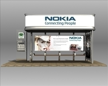 bus stop shelter nokia brand 3d model 3ds max obj 99766