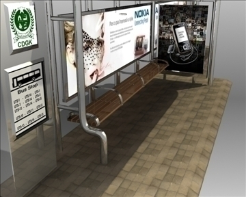 bus stop shelter nokia brand 3d model 3ds max obj 99768