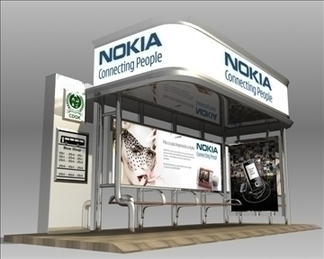 bus stop shelter nokia brand 3d model 3ds max obj 99769