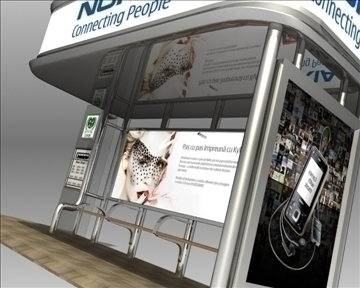 bus stop shelter nokia brand 3d model 3ds max obj 99770
