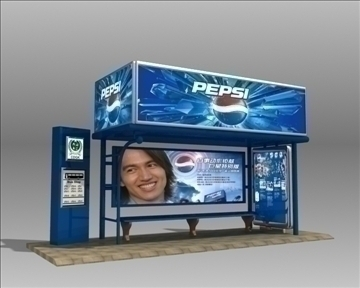 bus stop shelter pepsi brand 3d model 3ds max obj 99753