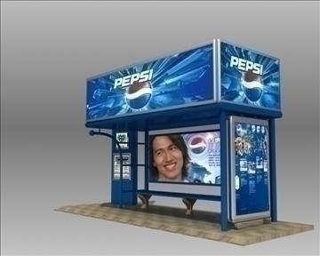 автобуска станица засолниште pepsi бренд 3d модел 3ds макс обј 99755