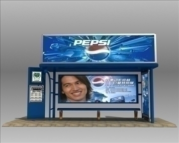 автобуска станица засолниште pepsi бренд 3d модел 3ds макс обј 99756