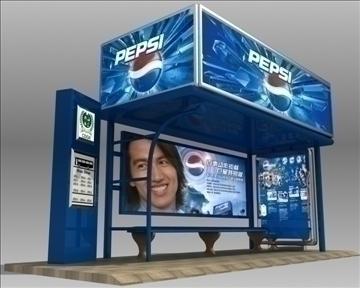 автобуска станица засолниште pepsi бренд 3d модел 3ds макс обј 99759