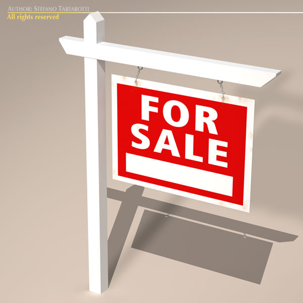 for sale sign real estate 3d model 3ds dxf fbx c4d obj 117964
