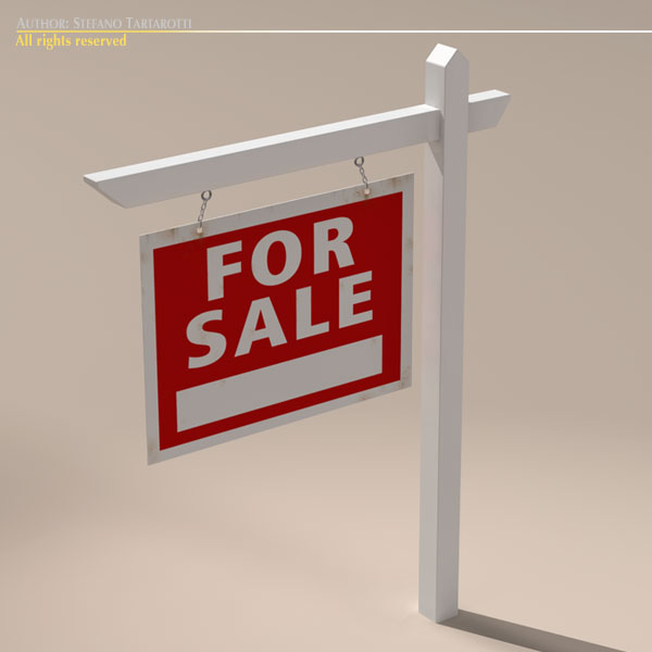 for sale sign real estate 3d model 3ds dxf fbx c4d obj 117965