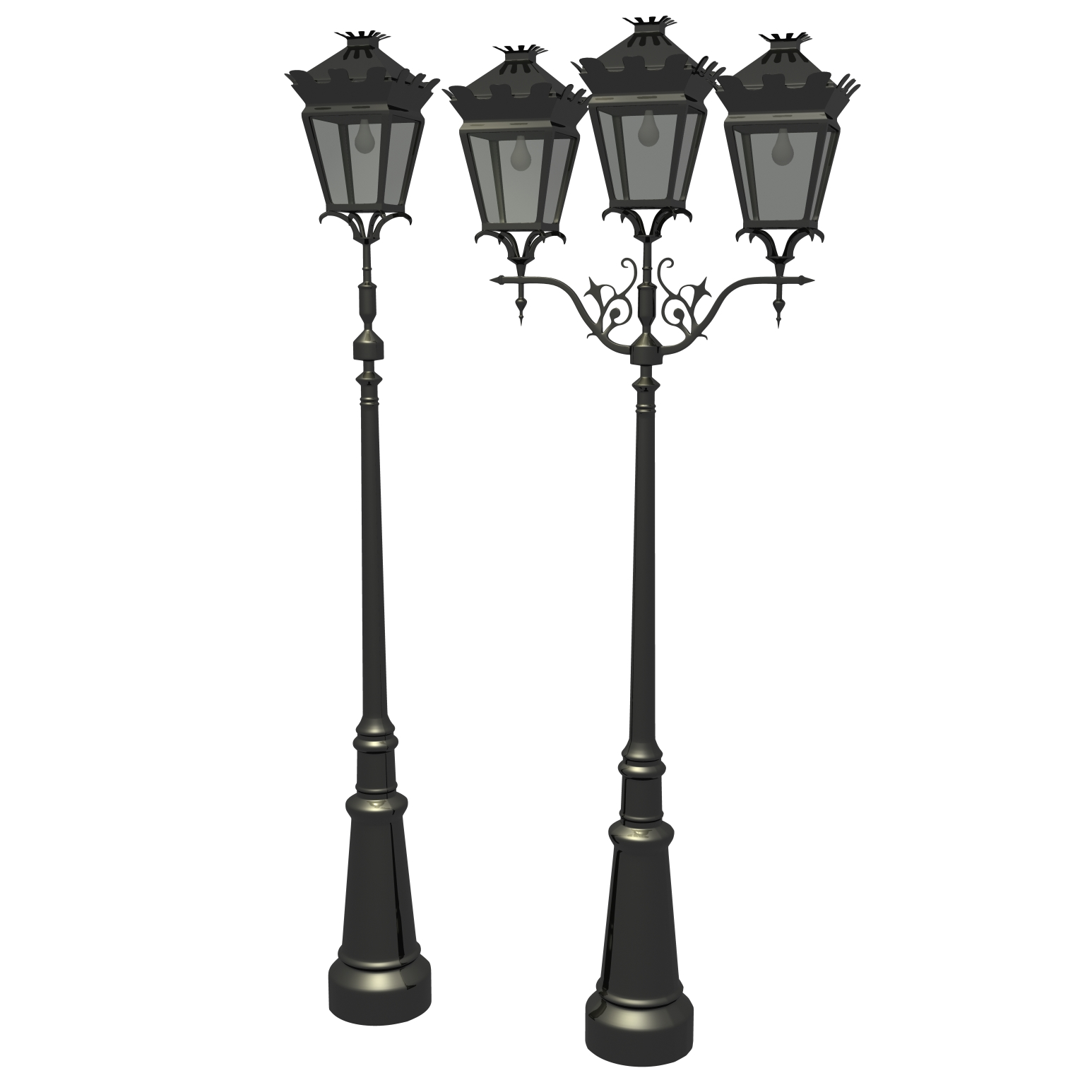 antique streetlight set 3d model ma mb flt 119130