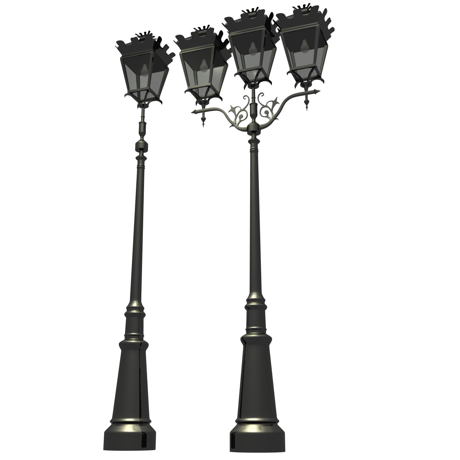 antique streetlight set 3d model ma mb flt 119131