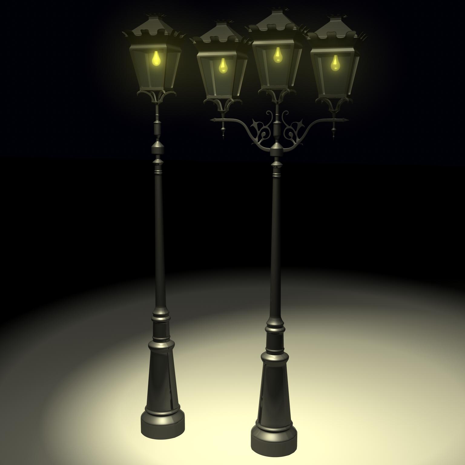 antique streetlight set 3d model ma mb flt 119133