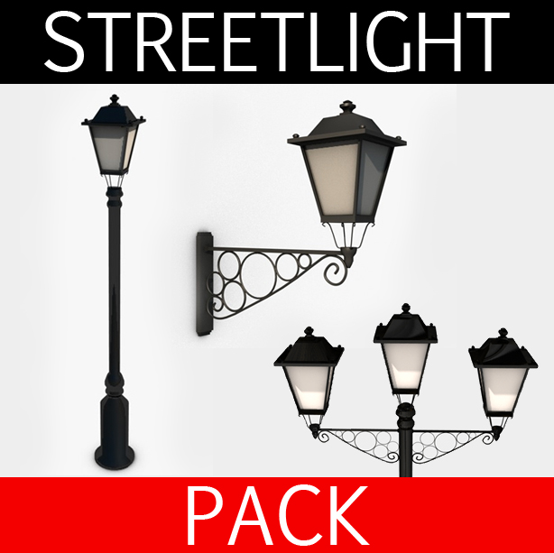 streetlight collection 3d model 3ds max fbx c4d obj 138612