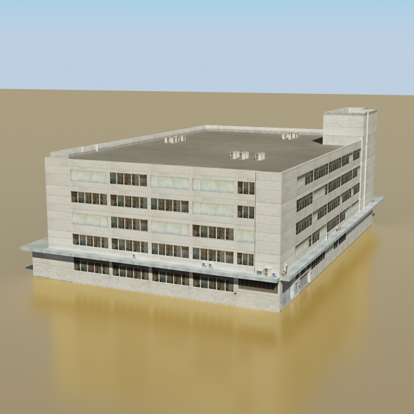 photorealistic low poly office building 2 3d model 3ds max obj 148639