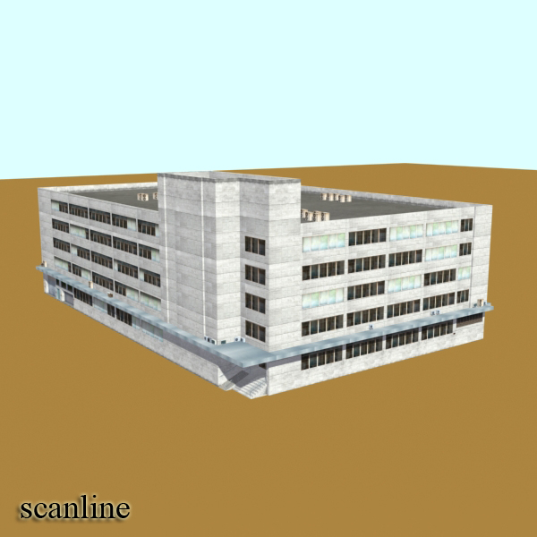 photorealistic low poly office building 2 3d model 3ds max obj 148645