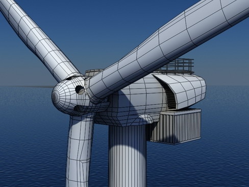 wind turbine offshore realtime 3d model 3ds max c4d lwo ma mb obj 158860