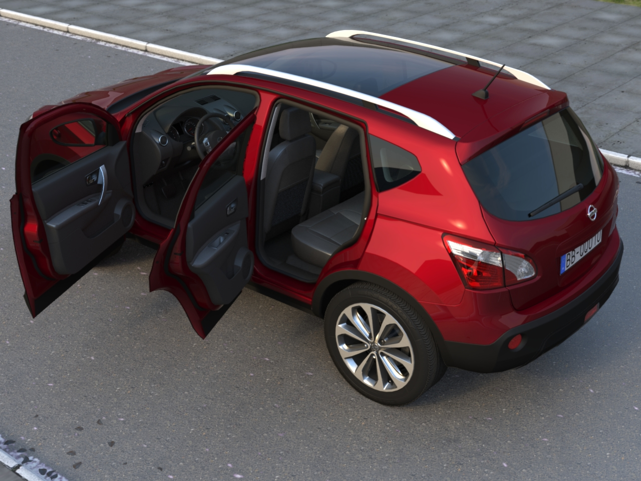 nissan qashqai 2010 3d model buy nissan qashqai 2010. Black Bedroom Furniture Sets. Home Design Ideas