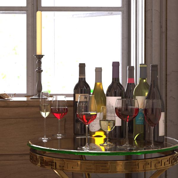 6 vínflaska og 6 víngleraugu 3d líkan 3ds max fbx obj 145636