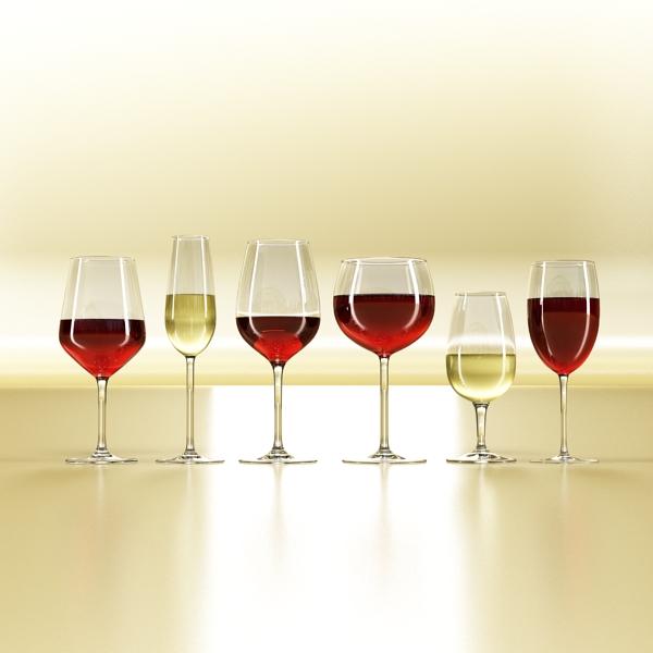 6 vínflaska og 6 víngleraugu 3d líkan 3ds max fbx obj 145640