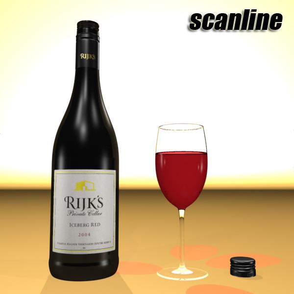 6 vínflaska og 6 víngleraugu 3d líkan 3ds max fbx obj 145712
