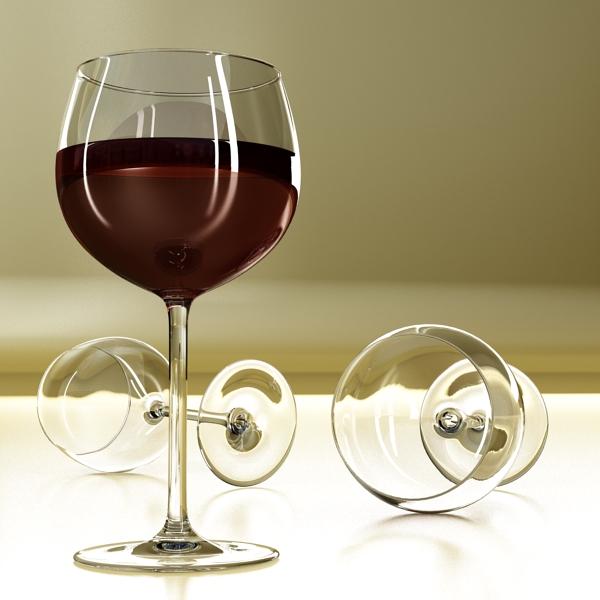 6 vínflaska og 6 víngleraugu 3d líkan 3ds max fbx obj 145725
