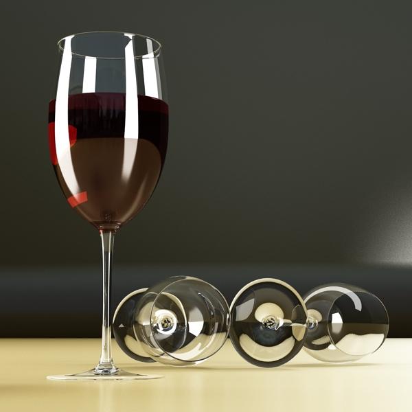 6 vínflaska og 6 víngleraugu 3d líkan 3ds max fbx obj 145733