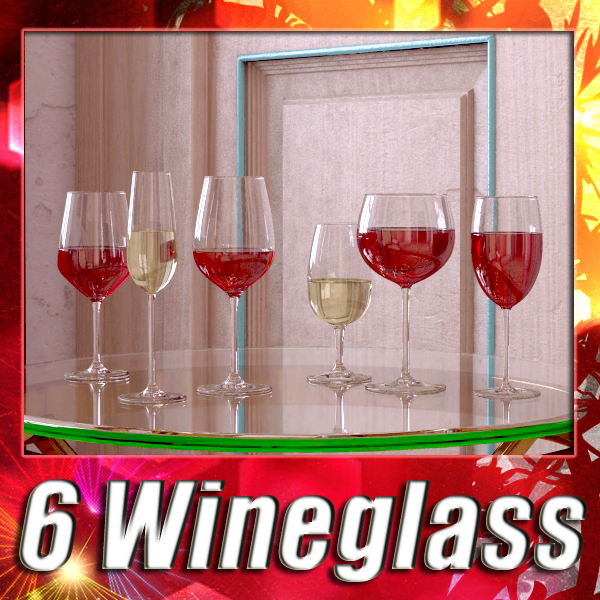 6 wine glass collection 3d model 3ds max fbx obj 145545