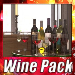 6 Wine Bottles and 6 Wine Glasses ( 336KB jpg by VKModels )