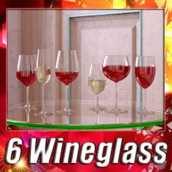 6 Wine glass Collection ( 396.69KB jpg by VKModels )