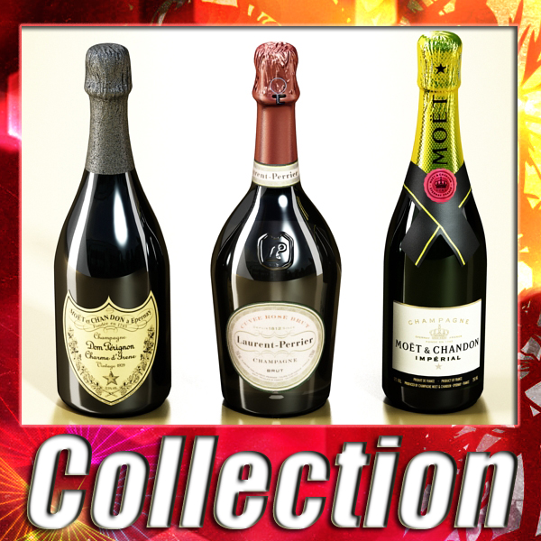 champagne bottles collection 3d model 3ds max fbx obj 143530