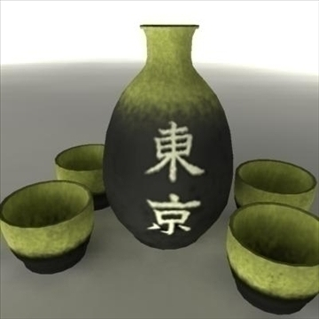 japanese sake set pot and cups 3d model ma mb 81439