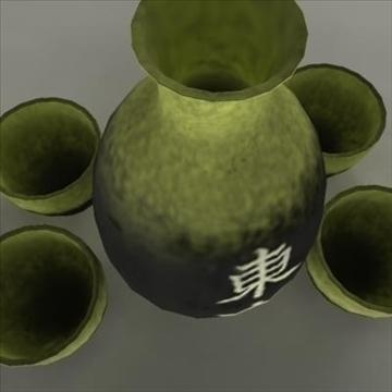 japanese sake set pot and cups 3d model ma mb 81441