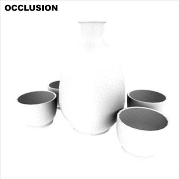 japanese sake set pot and cups 3d model ma mb 81442