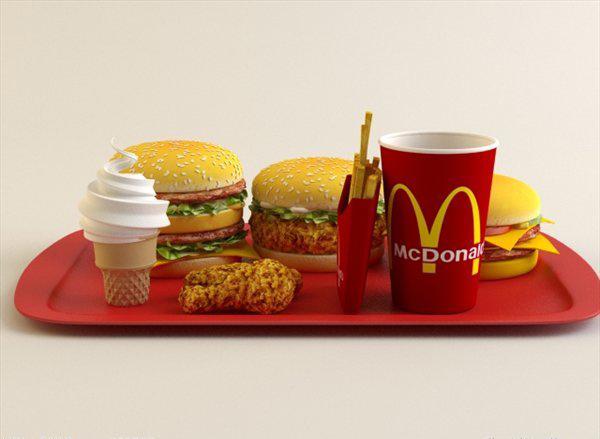 mc donald's meal set 3d model 3ds max texture obj 121188