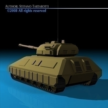 battle tank 01 3d model 3ds dxf c4d obj 88375