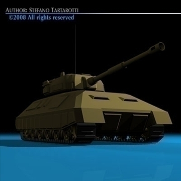 battle tank 01 3d model 3ds dxf c4d obj 88376