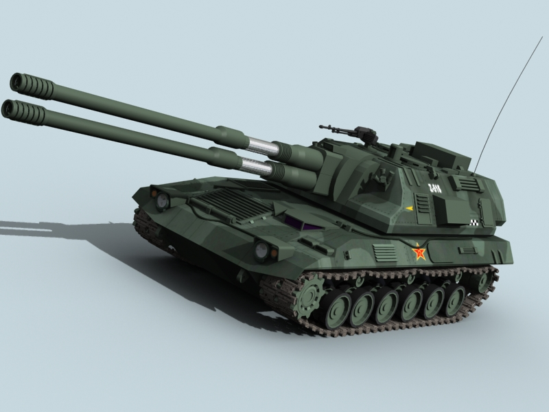 china dhewe propelled howitzer 3d model 3ds max fbx obj 123529