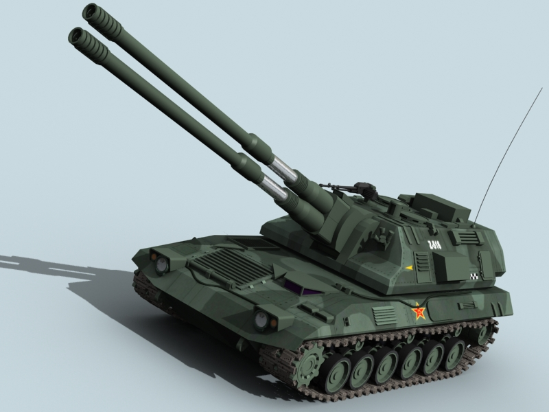 china self propelled howitzer 3d model 3ds max fbx obj 123530