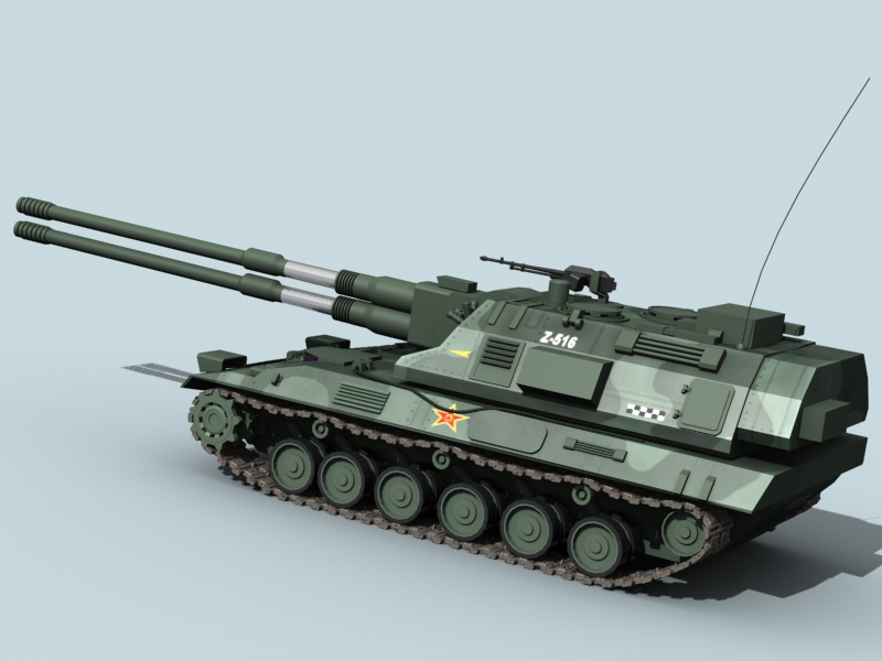 china self propelled howitzer 3d model 3ds max fbx obj 123532