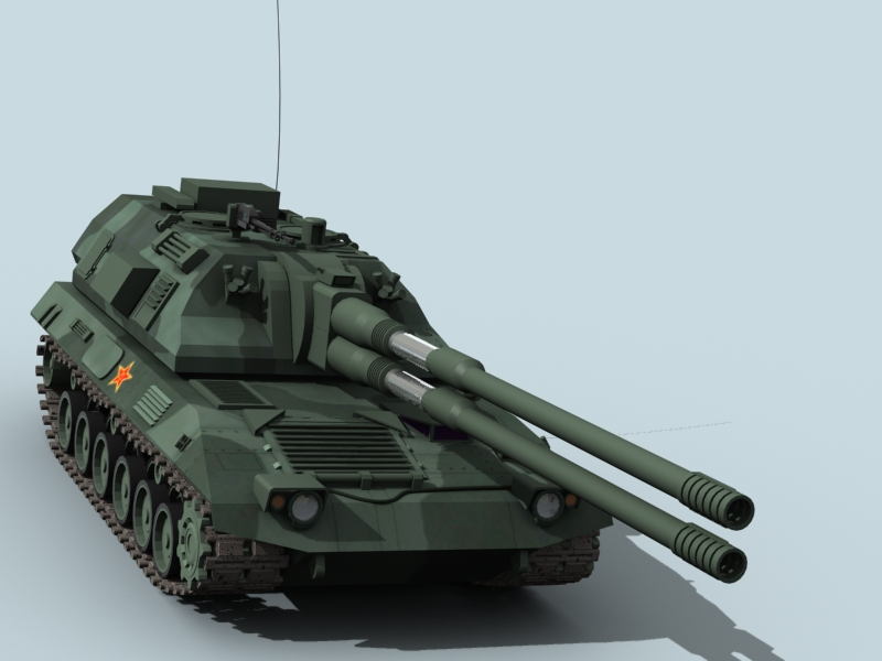 china self propelled howitzer 3d model 3ds max fbx obj 123533