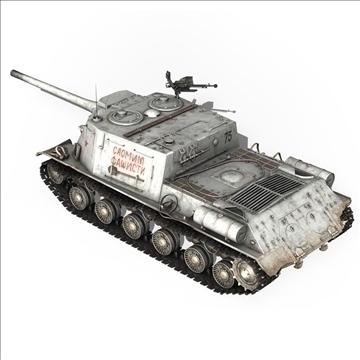 isu 122 soviet self propelled gun 3d model c4d 106671