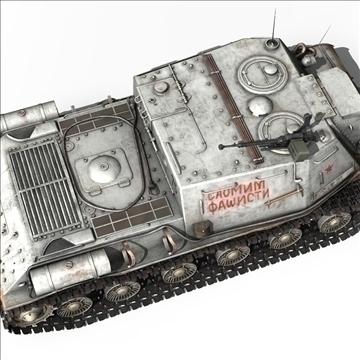 isu 122 soviet self propelled gun 3d model c4d 106676