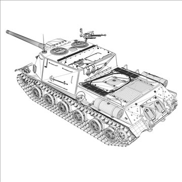 isu 122 soviet self propelled gun 3d model c4d 106678