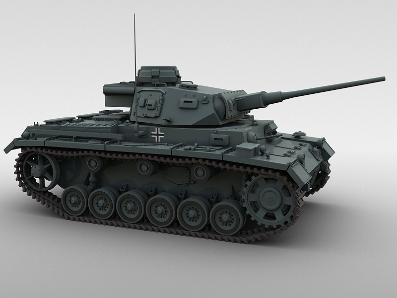 panzer 3 3d model 3ds max fbx obj 122614